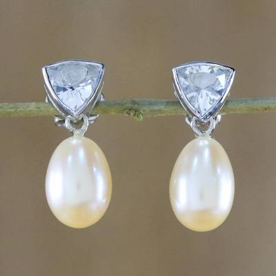 Pearl and topaz drop earrings, 'Sweet Soul' - Pearl and Topaz Earrings from Thailand