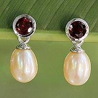 Cultured pearl and garnet drop earrings,