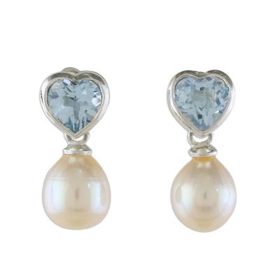 Pearl and topaz heart earrings