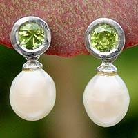Pearl and peridot drop earrings, 'Halo Light' peridot earrings