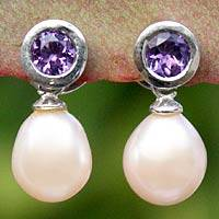 Pearl and amethyst dangle earrings, 'Halo Light' - Pearl and Amethyst Drop Earrings