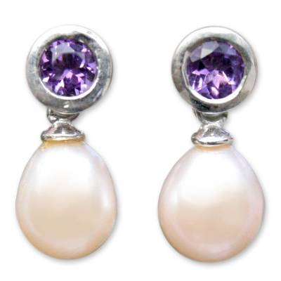 Pearl and Amethyst Drop Earrings