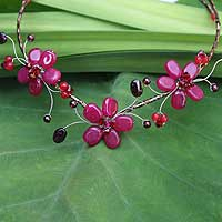 Beaded choker, 'Strawberry Triplets' - Beaded choker