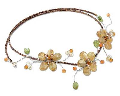 Floral Citrine and Carnelian Necklace