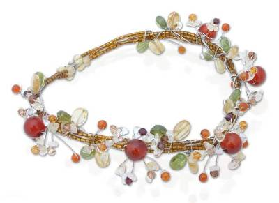Citrine and carnelian choker