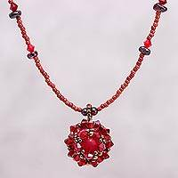 Garnet choker, 'Crimson Nosegay' - Beaded Quartz and Garnet Necklace