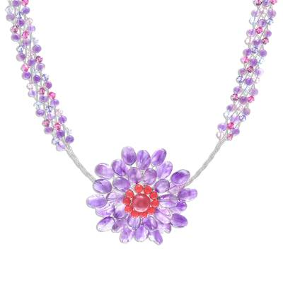 Handmade Beaded Amethyst Flower Pendant Necklace by Novica