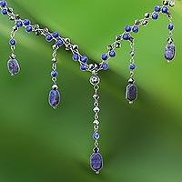 Lapis lazuli choker, 'Blue Empress' - Thai Beaded Lapis Lazuli Necklace