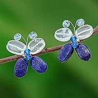 Lapis lazuli button earrings, 'Exotic Butterfly' - Lapis Lazuli Button Earrings