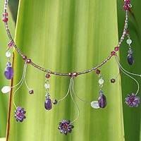 Amethyst and rose quartz waterfall necklace, 'Jungle Stars' - Hand Crafted Amethyst Waterfall Necklace