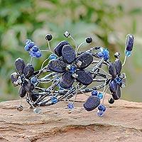 Lapis lazuli wrap bracelet, 'Garden' (Thailand)