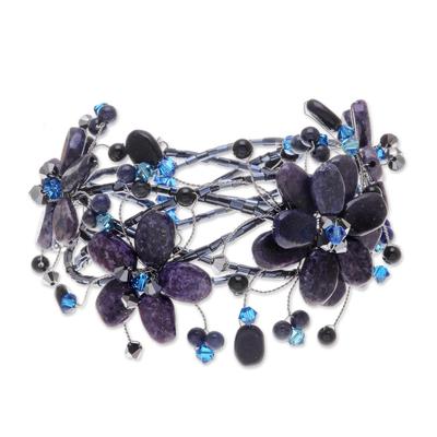Thai Floral Beaded Lapis Lazuli Bracelet