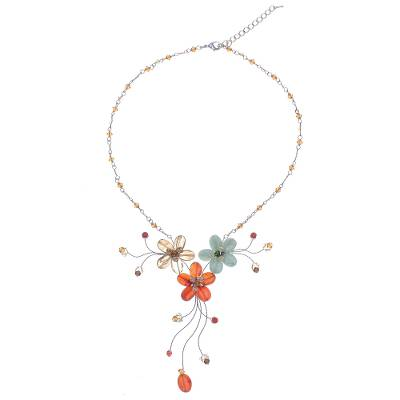 Artisan Crafted Carnelian and Citrine Flower Necklace