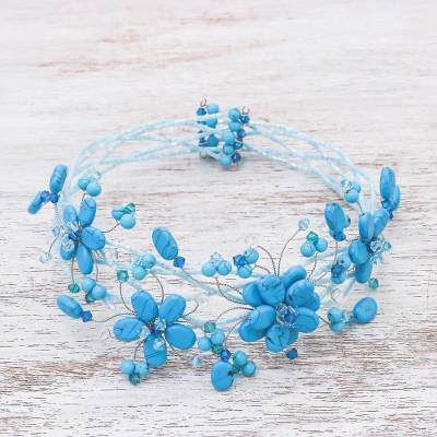 Beaded choker, 'Three Blue Blossoms' - Hand Made Floral Choker