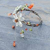 Carnelian and citrine wrap bracelet, 'Blossoming Web' - Carnelian and Citrine Beaded Flower Bracelet