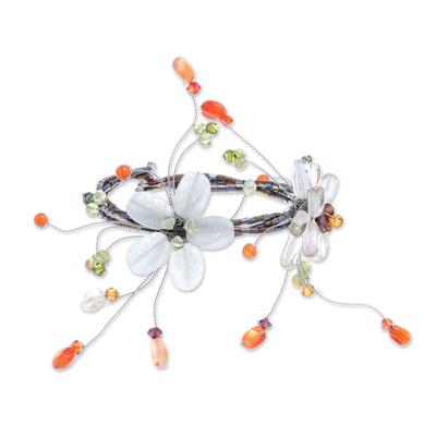 Carnelian and Citrine Beaded Flower Bracelet