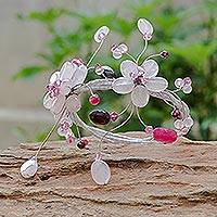 Rose quartz and garnet wrap bracelet, 'Blossoming Web' - Hand Made Rose Quartz Bracelet