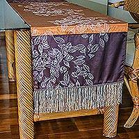 Silk and cotton table runner, 'Summer Equinox' - Handcrafted Silk Table Runner