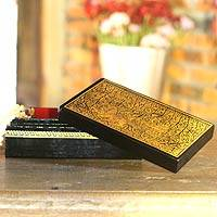 Lacquered wood jewelry box,