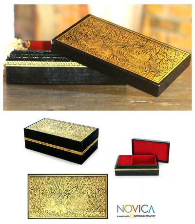 Lacquered wood jewelry box, 'Rama's Chariot' - Lacquered Wood Jewelry Box