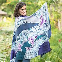 Silk batik shawl, 'Blue Lotus Lake' - Handcrafted Floral Silk Scarf from Thailand