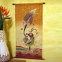 Cotton wall hanging, 'Proud Female Bird'