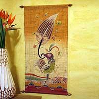 Cotton wall hanging, 'Proud Female Bird' - Handmade Batik Wall Hanging