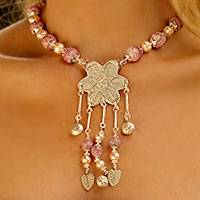 Pearl flower necklace, Rose in Bloom