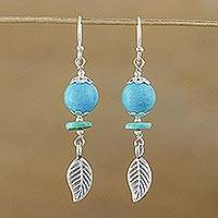 Sterling silver dangle earrings, 'Floral Reflection' - Unique Silver and Turquoise Dangle Earrings
