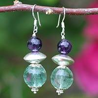 Amethyst and fluorite dangle earrings, 'Twilight Romance' - Hand Made Silver and Fluorite Dangle Earrings