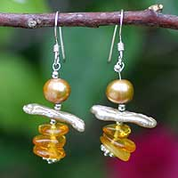 Pearl and amber dangle earrings, 'Sunshine' - Pearl and Amber Dangle Earrings