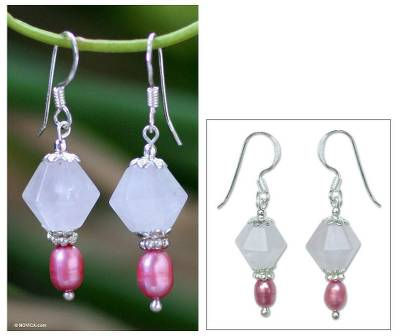 Pearl and rose quartz dangle earrings, 'Rose Fantasy' - Rose Quartz and Pearl Dangle Earrings