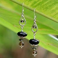 Onyx and quartz dangle earrings, Excellence