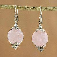 Rose quartz dangle earrings, 'Galactic Queen' - Fair Trade Sterling Silver and Rose Quartz Dangle Earrings