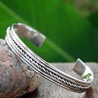 Sterling silver cuff bracelet, 'Harmony'