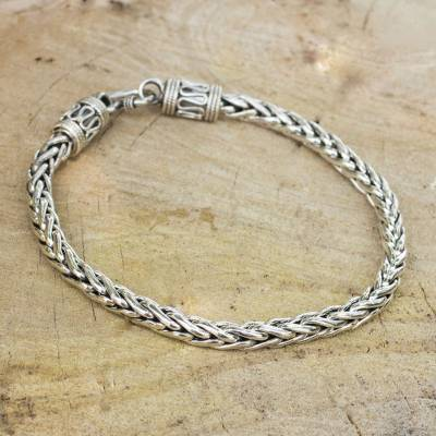 Men's sterling silver bracelet, 'Strength' - Men's Sterling Silver Chain Bracelet from Thailand