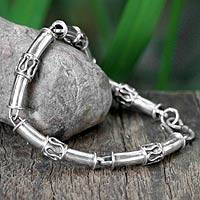 Sterling silver link bracelet, 'Bamboo'
