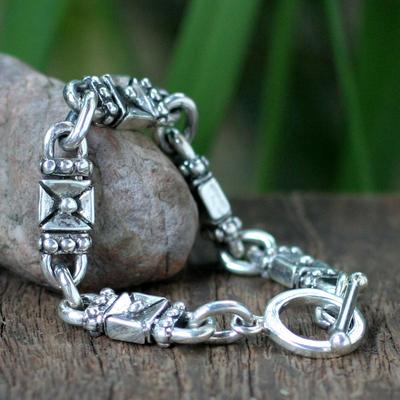 Sterling silver link bracelet, 'Lock and Key' - Sterling Silver Link Bracelet