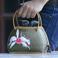 Bamboo And Silk Handbag, 'white Orchid' Picture