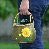 Bamboo And Silk Handbag, 'yellow Gerbera' Picture