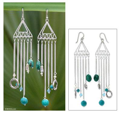 Cultured pearl and chrysocolla chandelier earrings, 'Trapeze' - Pearl and chrysocolla chandelier earrings