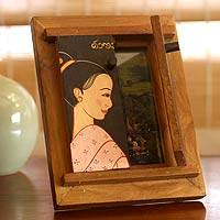 Teak photo frame, 'Prosperity'  (4x6) - Handcrafted Teakwood Photo Frame (4x6)