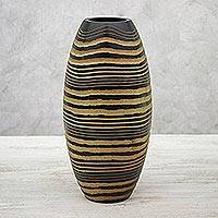 Mango wood vase, 'Golden Zebra' - Handcrafted Mango Wood Vase