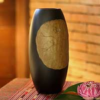 Mango wood vase, 'Lotus Leaf' - Hand Crafted Mango Wood Vase