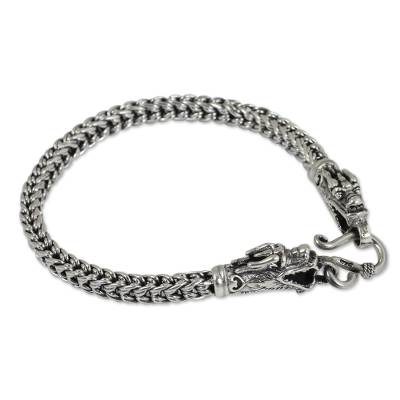 Artisan Crafted Sterling Silver Braided Chain Dragon Head Bracelet