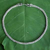 Sterling silver chain necklace, 'Dragon Power' - Handcrafted Sterling Silver Chain Necklace