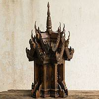 Teak spirit house, 'Naga's Protective Spirit' - Handcrafted Teakwood Spirit House from Thailand