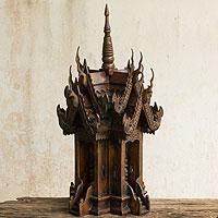 Teak spirit house, 'Naga's Protective Spirit' - Teak spirit house