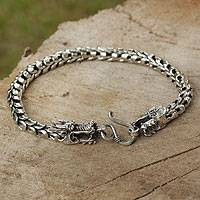 Men's sterling silver bracelet, 'The Protector' - Men's Sterling Silver Dragon Bracelet
