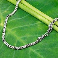 Sterling silver chain necklace, 'Dragon Protection' - Sterling Silver Chain Necklace with Dragon Motif